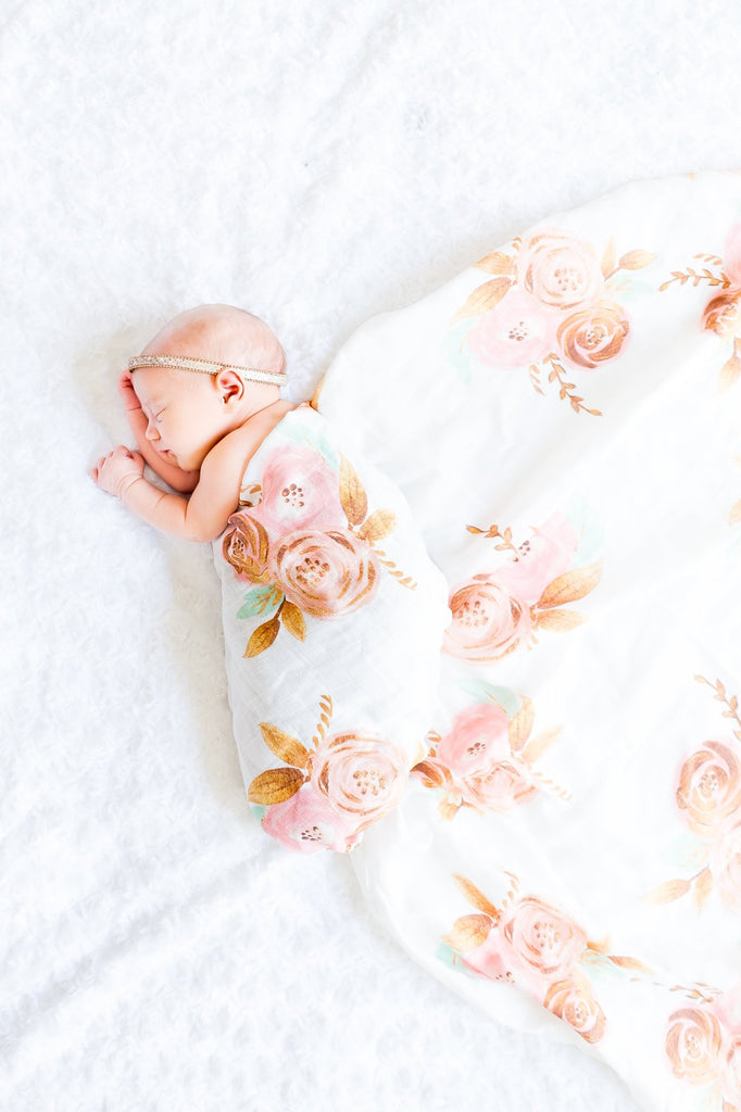 Gold Floral Swaddle Blanket - Pink Flower Baby Blanket - Boho Receiving Blanket - Baby Shower Gift - Chic Swaddling Blanket -Knit Blanket - Orange Blossom Special  @orangeblossomspecial805