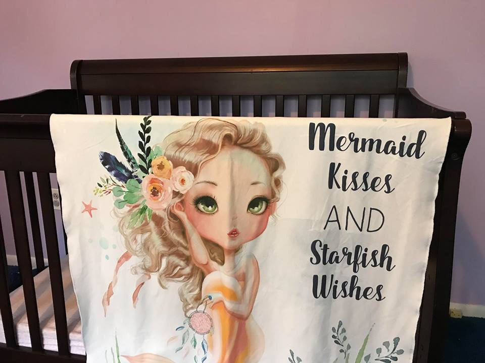 Mermaid kisses Swaddle Blanket - Starfish Baby Blanket - Receiving Blanket - Baby Shower Gift - Swaddling Blanket - Baby Swaddle Blanket - Dream Evergreen @DreamEvergreen