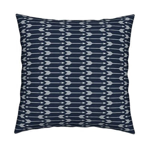 Navy Arrow Pillow Cover - Rustic Throw Pillow -Woodland Hunting Nursery Bedding - Boys Toddler Bedding - Crib Bedding - Pillow Cover Gift - Dream Evergreen @DreamEvergreen