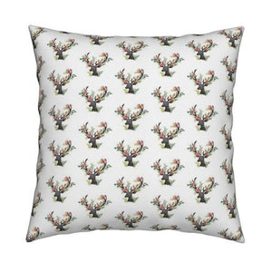 Floral Deer Throw  Pillow Cover - Orange Blossom Special  @orangeblossomspecial805