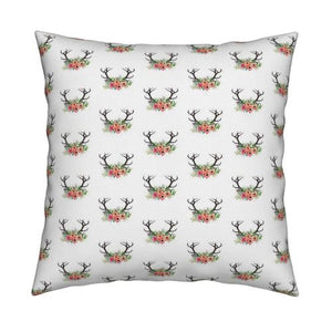 Floral Antlers Pillow Cover - Dream Evergreen @DreamEvergreen