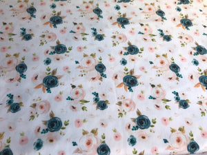 Navy Floral Fitted Crib Sheet - Dream Evergreen @DreamEvergreen