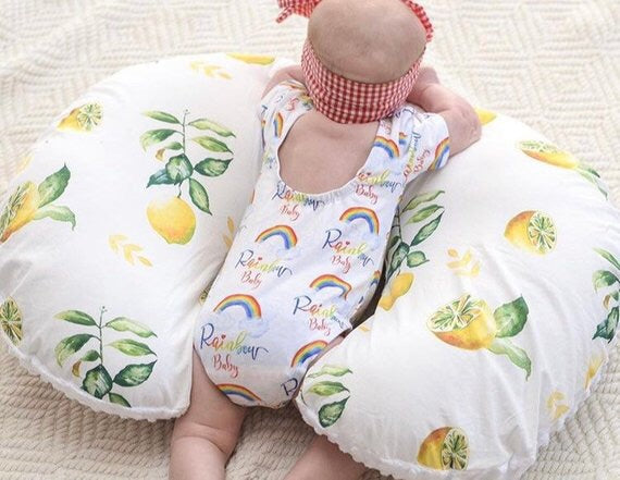 Lemons Nursing Pillow Slipcover - Watercolor Fruit Boppy Pillow Cover - Dream Evergreen @DreamEvergreen