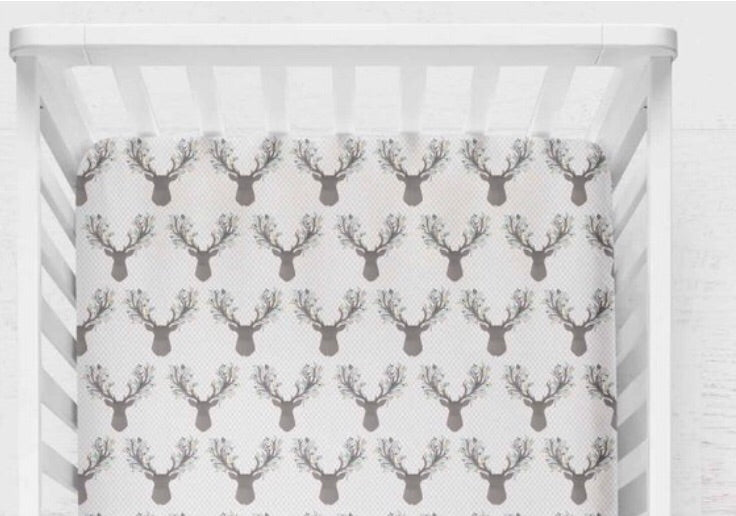 Blue Deer Fitted Crib Sheet - Orange Blossom Special  @orangeblossomspecial805