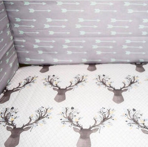 Blue Deer Fitted Crib Sheet - Dream Evergreen @DreamEvergreen