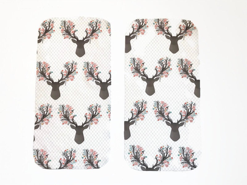Floral Deer Burp Cloths - Set of 2 - Dream Evergreen @DreamEvergreen