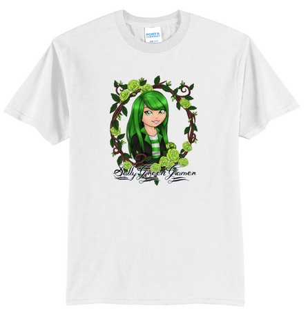 Official SallyGreenGamer Bright White T-Shirt