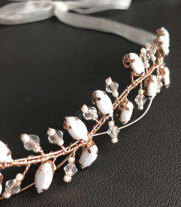 The structured beaded Rose Gold headpiece