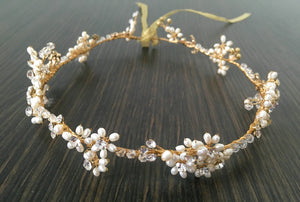 Gold & Pearl floral Headdress