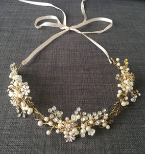 Boho Pearl & Diamanté Hair vine