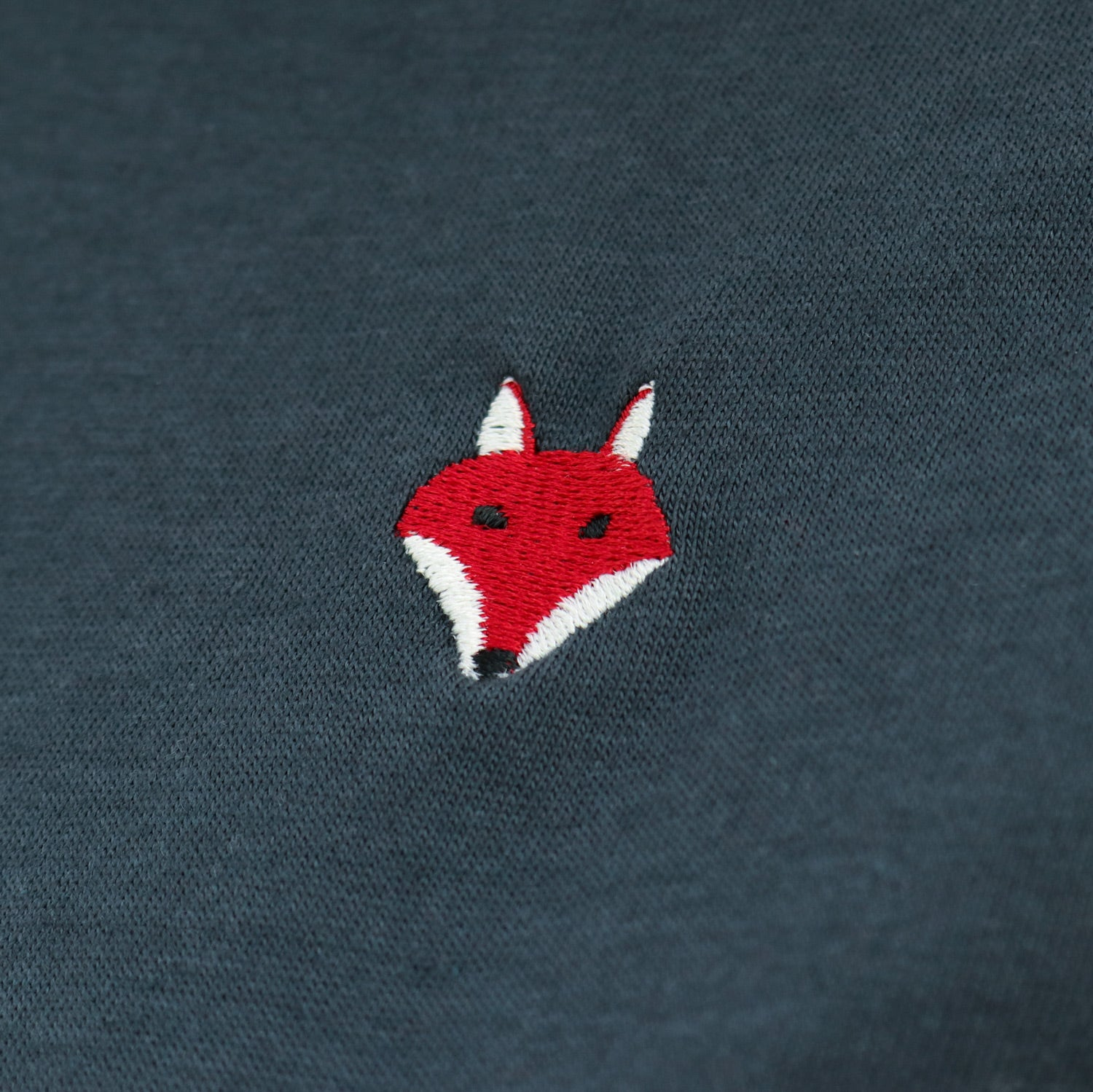 Embroidered Fox Tee - Charcoal