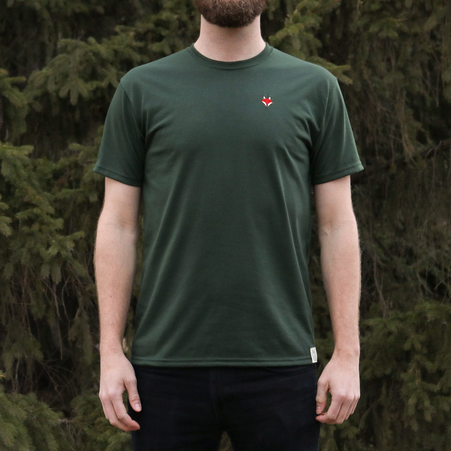 Embroidered Fox Tee - Forest