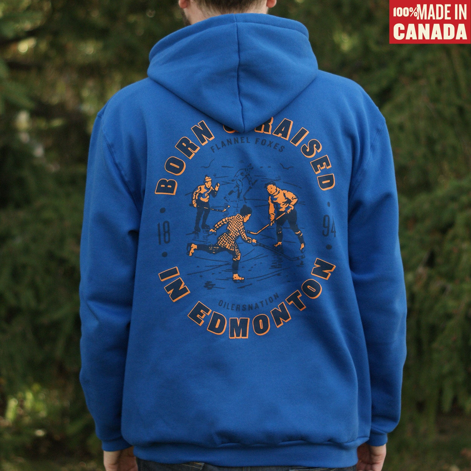 Flannel Foxes x OilersNation - Born & Raised Hoodie