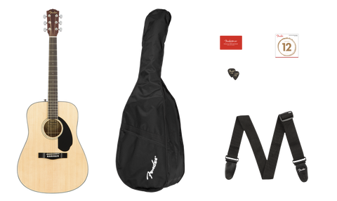Paquete de Guitarra Acústica  Fender CD-60S Dread Pack V2, Nat Wn