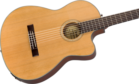 Guitarra Electroacústica Fender CN-140SCE Nylon Thinline, Walnut Fingerboard, Natural w/Case