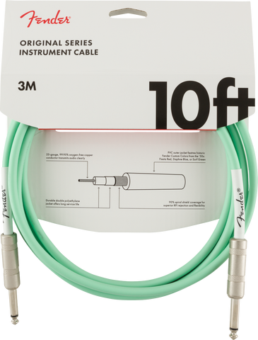 Cable Fender (3m) Original Series Instrument Cable, 10', Surf Green