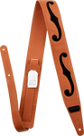 Tahalí Gretsch® F-Holes Leather Strap, Orange and Black, 3""