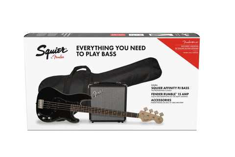 Paquete Bajo Electrico Squier Affinity Series Precision Bass PJ Pack, Laurel Fingerboard, Black, Gig Bag, Rumble 15