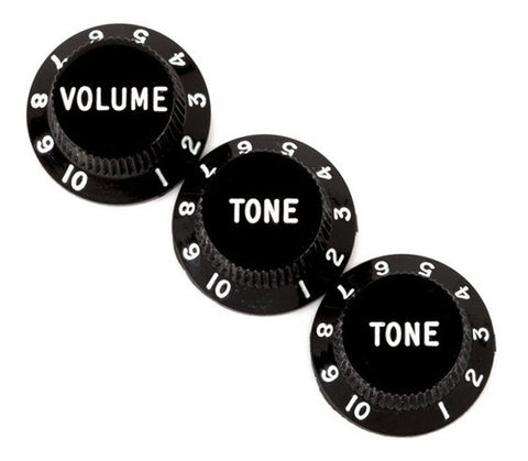 KNOBS, STRAT BLACK 1-VOL/2-TONE