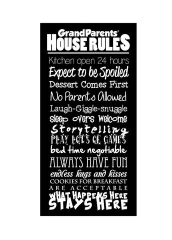 Grandma and Grandpa Rules - Canvas Print