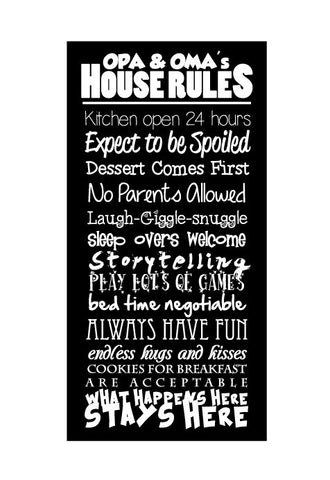 Opa & Oma Rules - Canvas Print