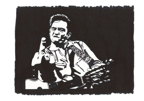 Johnny Cash Sharpie Art by Lee Ajax Olson