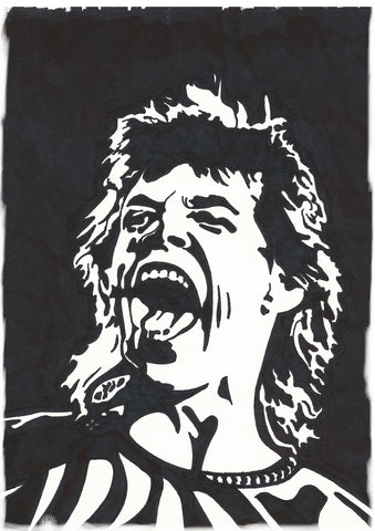 Mick Jagger Sharpie Art by Lee Ajax Olson