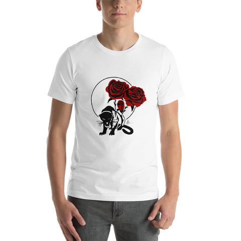 Panther and Roses - Short-Sleeve Unisex T-Shirt