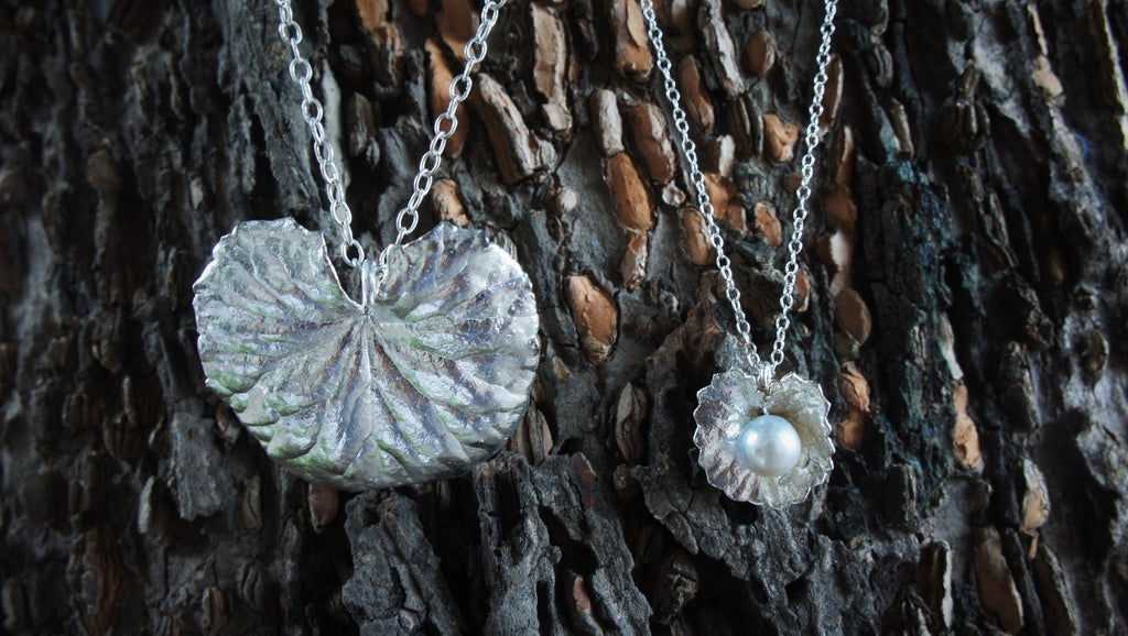Long Silver Pennywort Pendant & Miniature Silver Pennywort and Pearl Pendant
