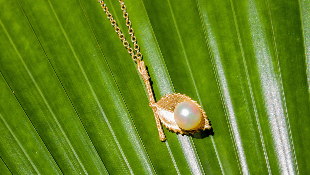 Gold Rose and Stem with Pearl Pendant