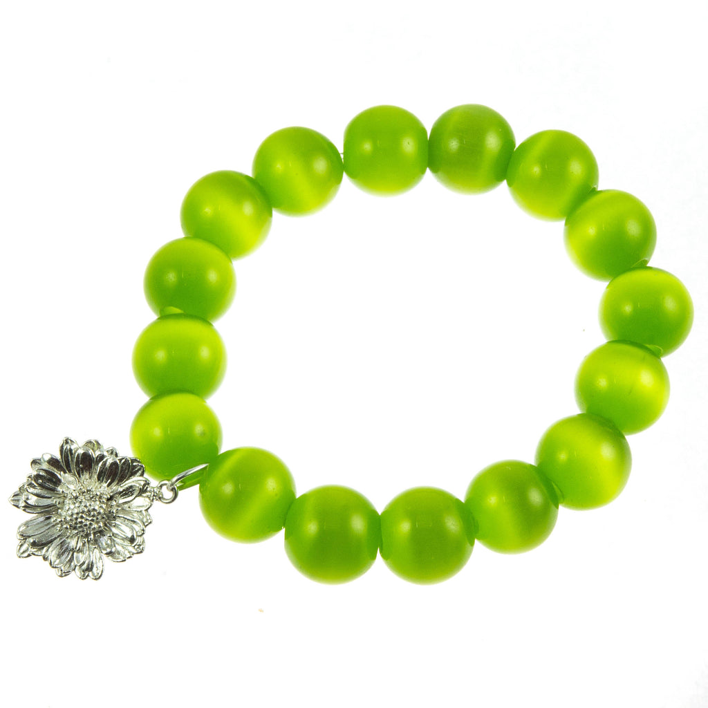 Apple Green Glass Bead and Silver Daisy Bracelet