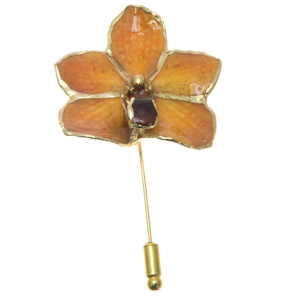 Ascocenda Orchid Stickpin Brooch - Gold/Orange