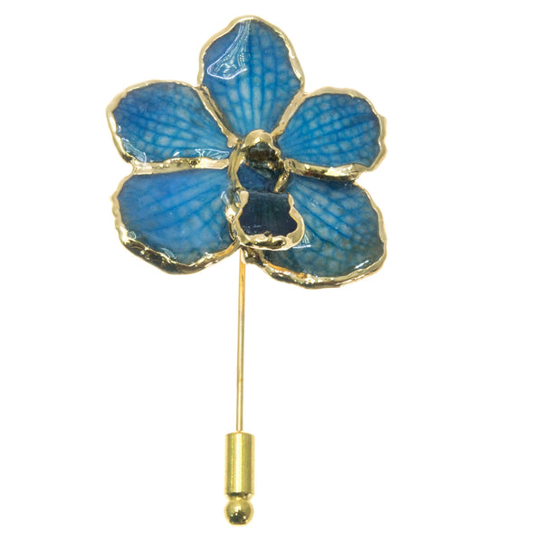 Ascocenda Orchid Stickpin Brooch - Gold/Blue