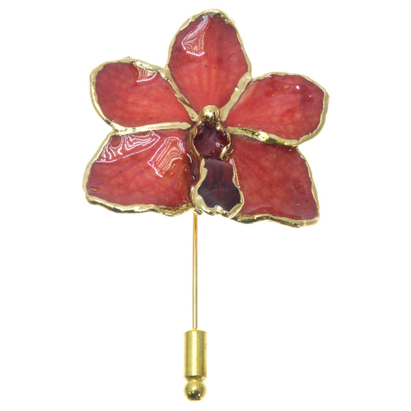 Ascocenda Orchid Stickpin Brooch - Gold/Red