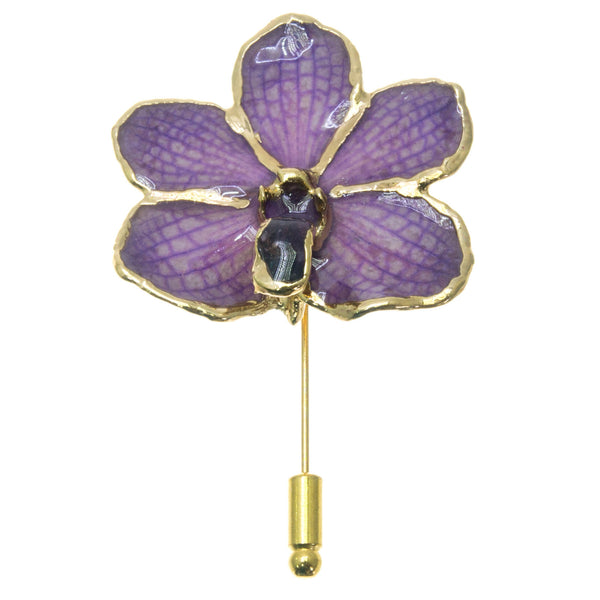 Ascocenda Orchid Stickpin Brooch - Gold/Purple