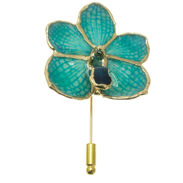 Ascocenda Orchid Stickpin Brooch - Gold/Turquoise
