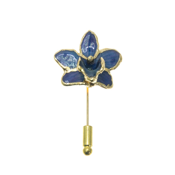 Doritis Orchid Stickpin Brooch - Gold/Dark Blue