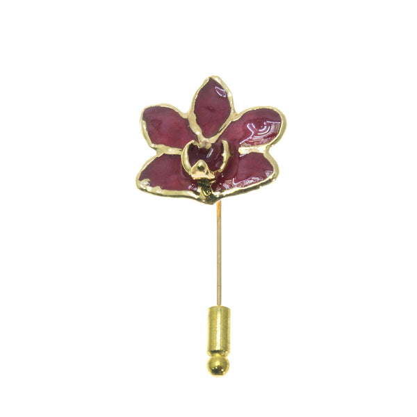 Doritis Orchid Stickpin Brooch - Gold/Red