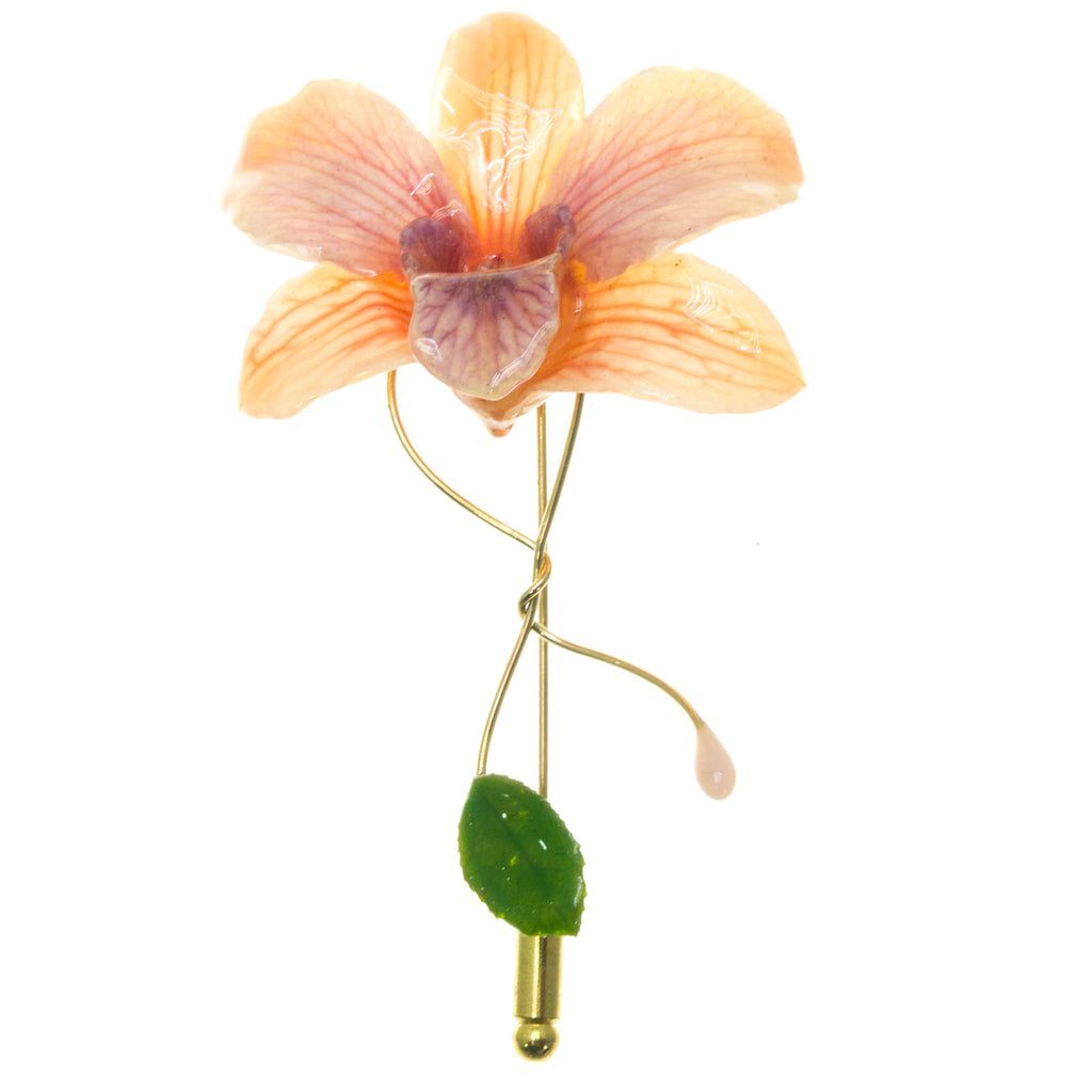 Dendrobium Orchid and Rose Leaf Stickpin Brooch - Peach