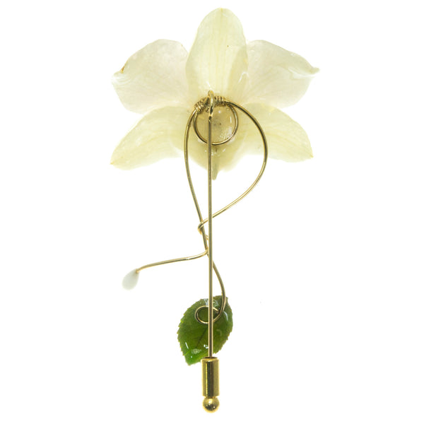 Dendrobium Orchid and Rose Leaf Stickpin Brooch - White
