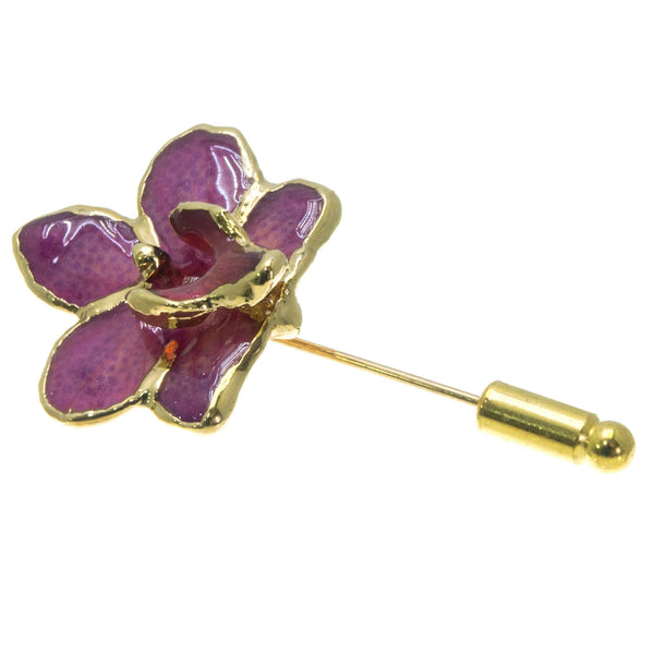 Doritis Orchid Stickpin Brooch - Gold/Light Purple