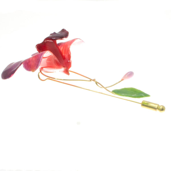 Dendrobium Orchid and Rose Leaf Stickpin Brooch - Purple Red