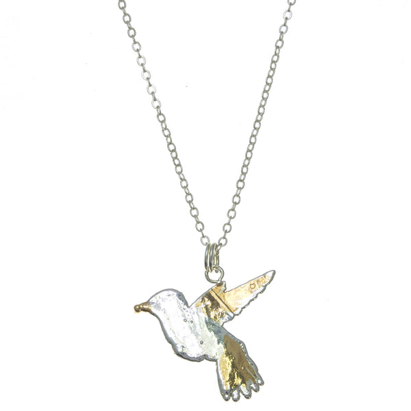 Gold Winged Hummingbird Pendant