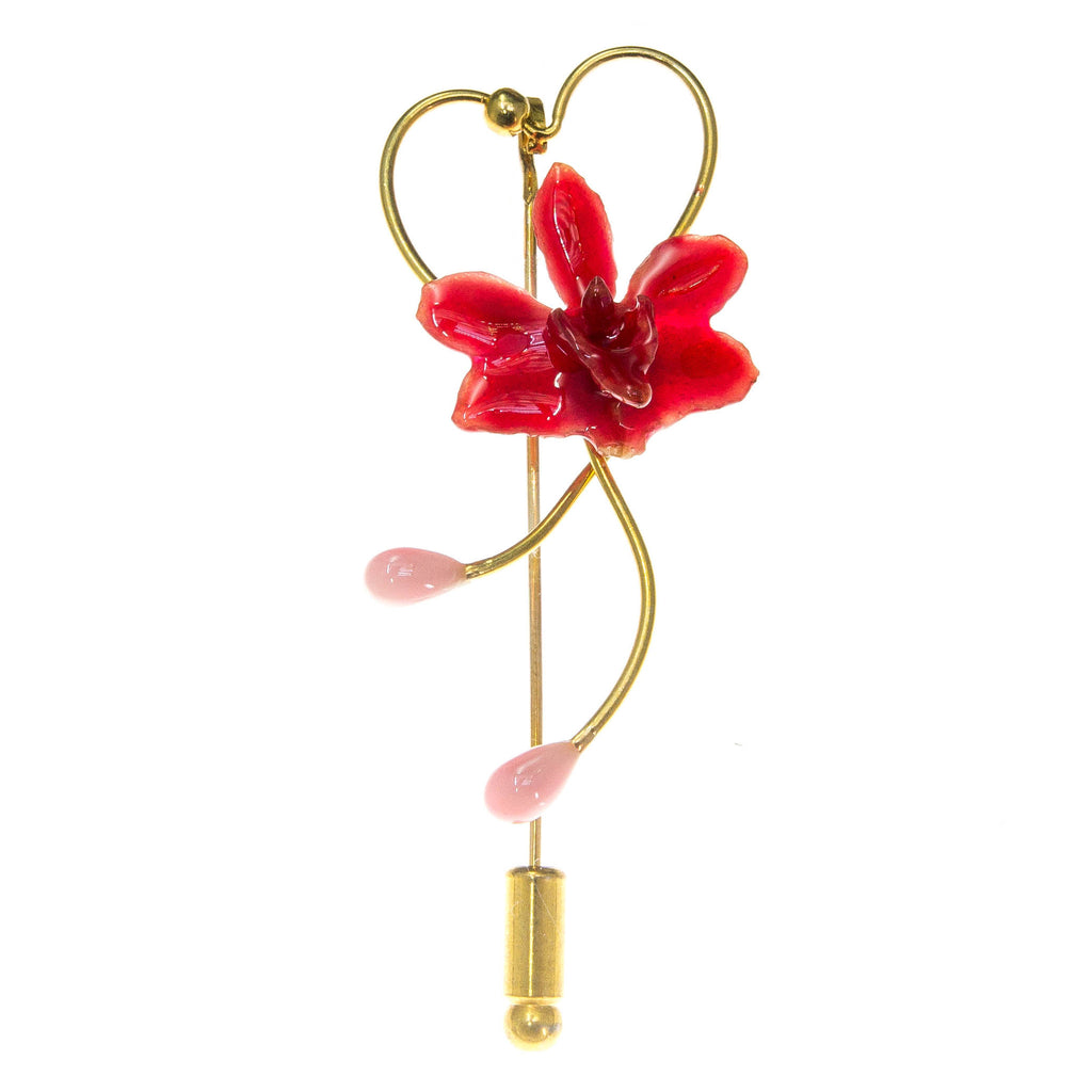 Doritis Orchid Stickpin Brooch - Red