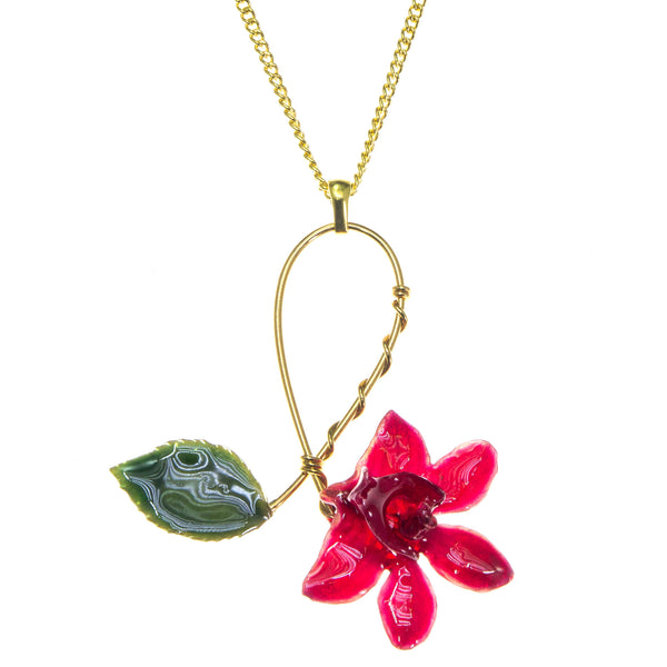 Doritis Orchid and Rose Leaf Pendant - Red