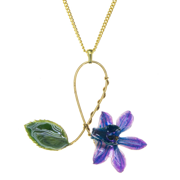 Doritis Orchid and Rose Leaf Pendant - Blue