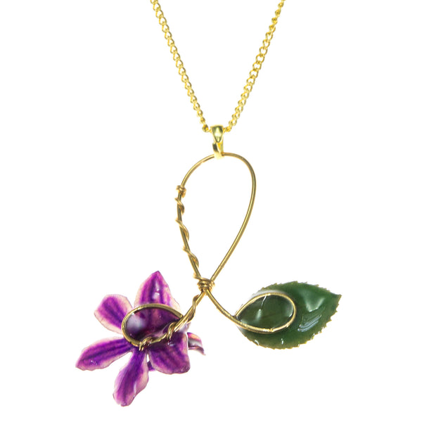 Doritis Orchid and Rose Leaf Pendant - Purple