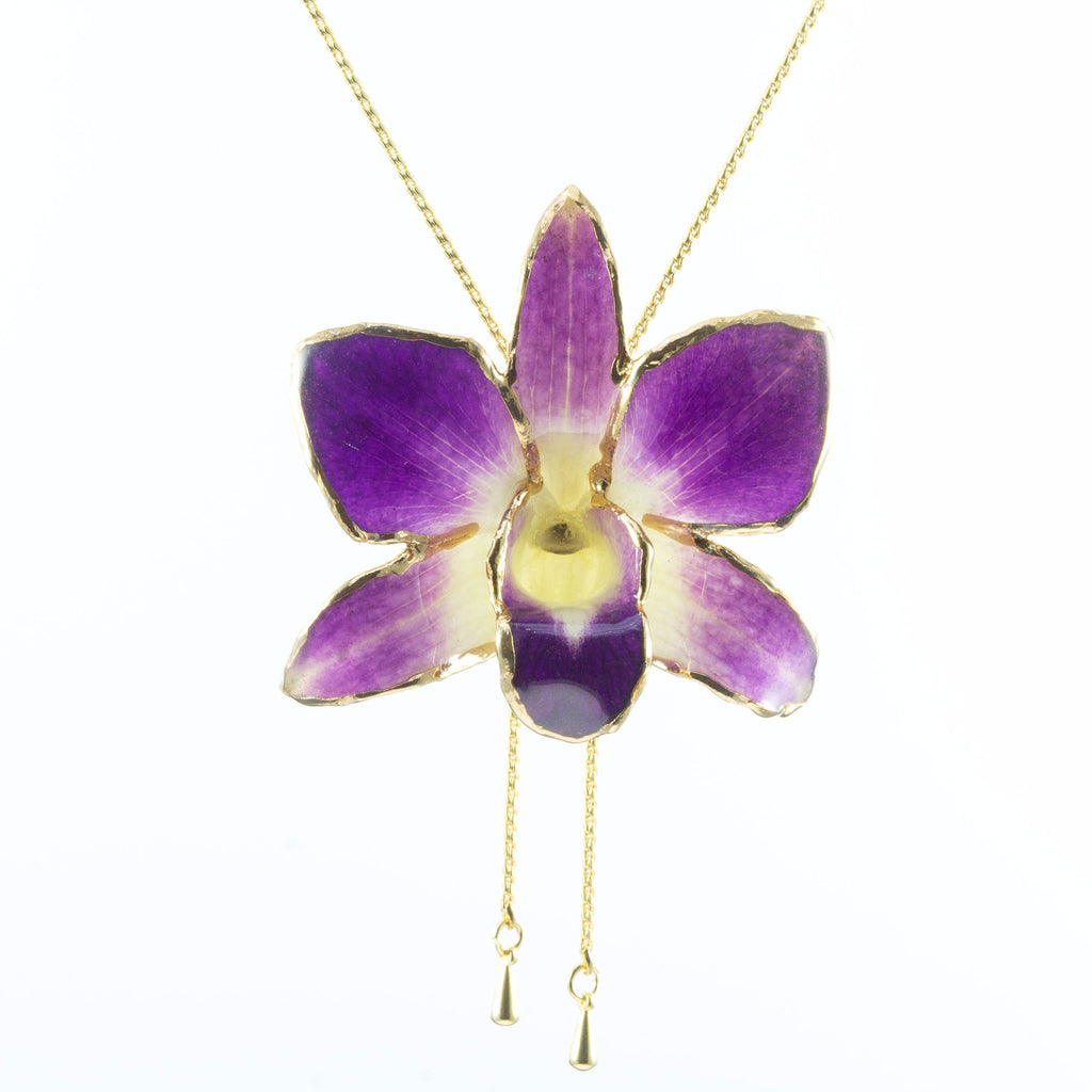 Dendrobium Orchid Gold Slider Necklace with Trim - Purple & White