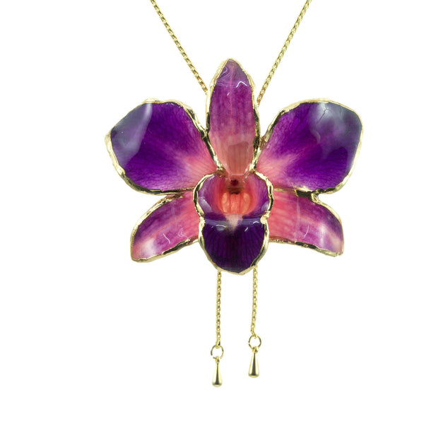 Dendrobium Orchid Gold Slider Necklace with Trim - Purple & Pink