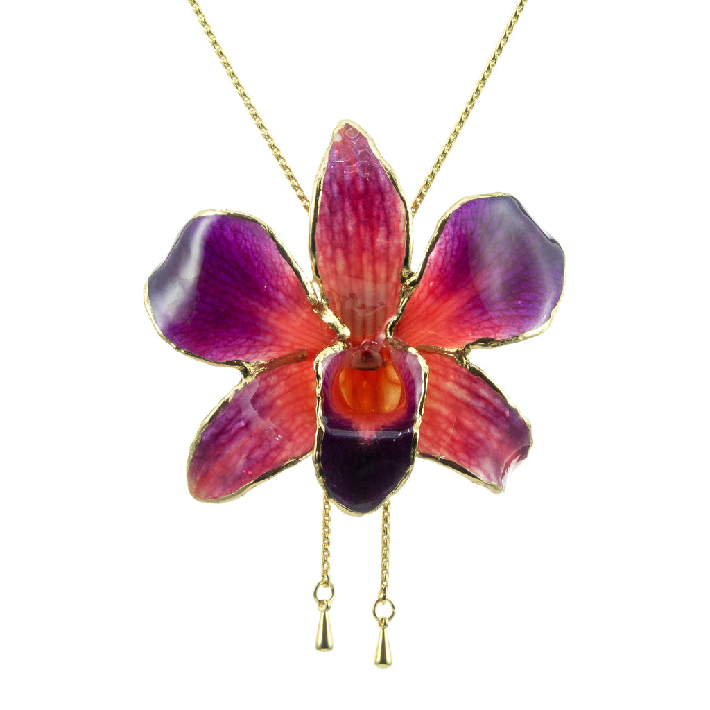 Dendrobium Orchid Gold Slider Necklace with Trim - Purple & Orange